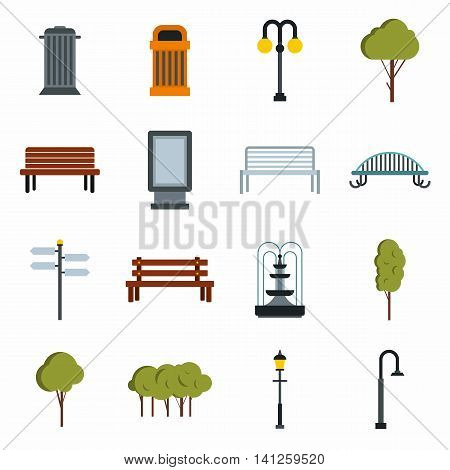 Flat park icons set. Universal park icons to use for web and mobile UI, set of basic park elements isolated vector illustration