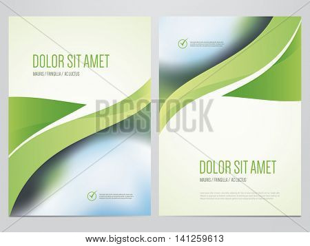 Green eco brochure, annual report, magazine cover, flyer, poster template. Modern vector ecology, environment design.