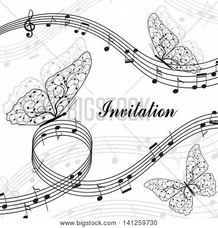 Musical design elements with treble clef, notes and butterflies in black and white style. Vector Illustration isolated on white background.