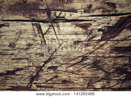 Abstract background or texture Old wooden board with notches