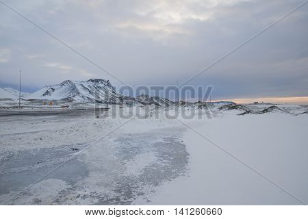 snowy mountain by a truck stop in Iceland 2014