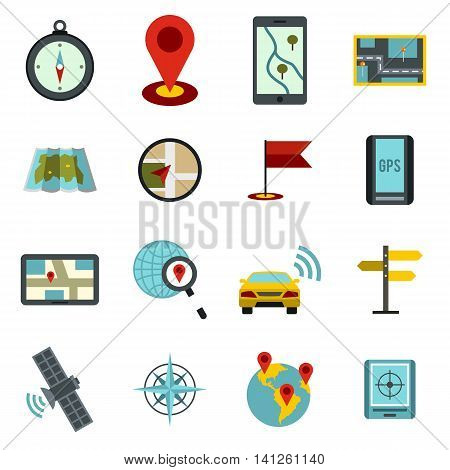 Flat navigation icons set. Universal navigation icons to use for web and mobile UI, set of basic navigation elements isolated vector illustration