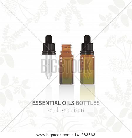 Essential oil glass bottle with dropper. All objects are conveniently grouped and are easily editable.