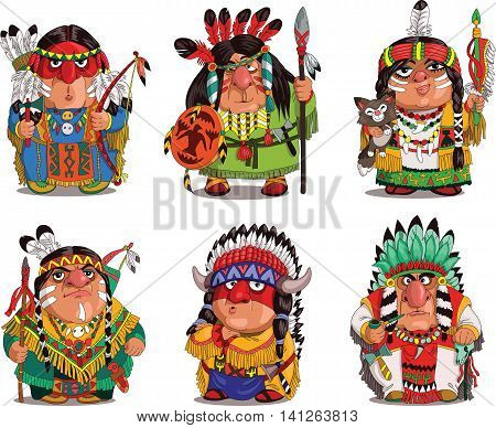 Cartoon Indians. Funny travesty cartoon. Characters. Indians set. Isolated objects.