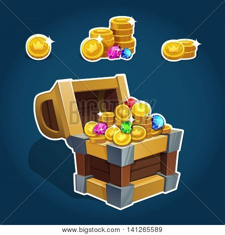 Set Of Golden Coins In Chest  For Game Interface. Vector Illustration. Eps 10