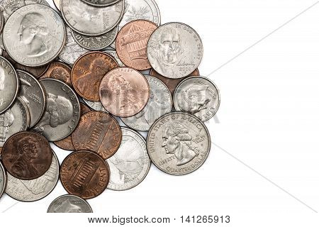 A bunch of US dollar coins of all denominations