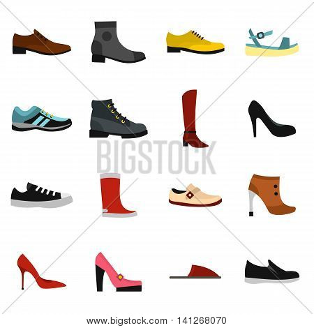 Flat shoe icons set. Universal shoe icons to use for web and mobile UI, set of basic shoe elements isolated vector illustration