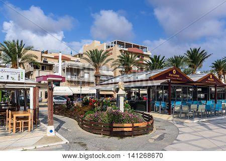 SITIA, CRETE, GREECE - JUNE 2016: Central street of Sitia town on Crete island, Greece