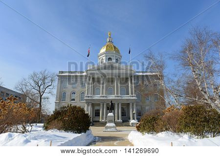New Hampshire State House in winter, Concord, New Hampshire, USA. New Hampshire State House is the nation's oldest state house, built in 1816 - 1819.