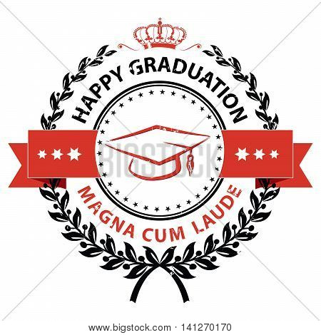 Happy Graduation, Magna cum laude -  elegant red stamp / label. Print colors used