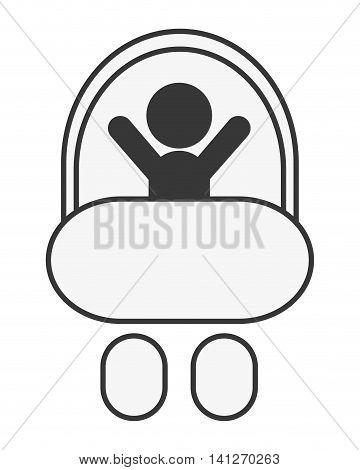 flat design baby in stroller icon vector illustration
