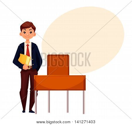 Smiling school boy standing at the desk and holding a book, cartoon style illustration isolated on white background. Pretty boy in school uniform and a text bubble