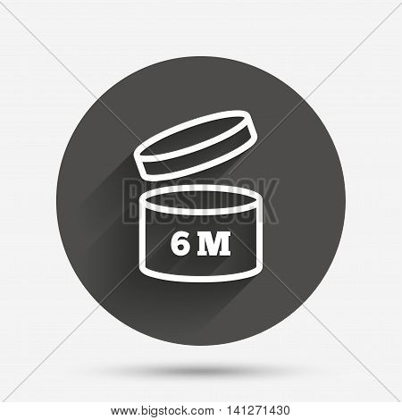 After opening use 6 months sign icon. Expiration date. Circle flat button with shadow. Vector