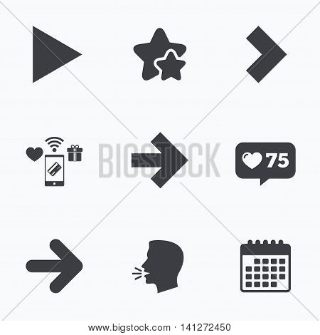 Arrow icons. Next navigation arrowhead signs. Direction symbols. Flat talking head, calendar icons. Stars, like counter icons. Vector poster