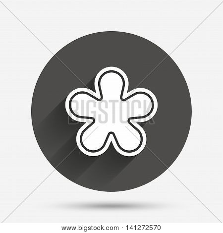 Asterisk round footnote sign icon. Star note symbol for more information. Circle flat button with shadow. Vector