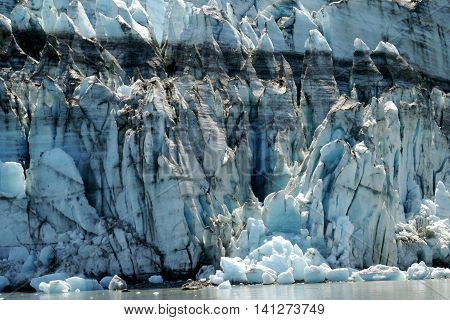 Closeup image of tidewater glacier on a sunny day, Alaska