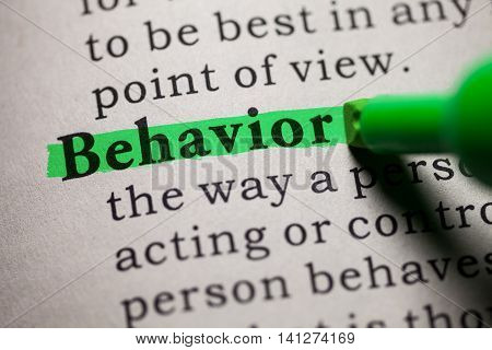Fake Dictionary definition of the word behavior.