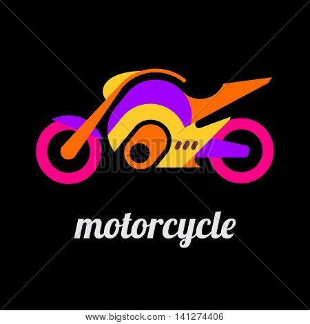 Modern motorcycle flat vector icon isolated on a black background.