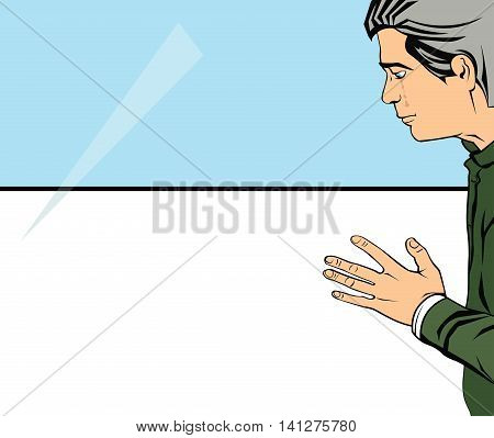 young man was crying, holding  hand on glass background. Illustration in pop-art style. Depression and separation,  gap in relations poster
