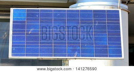 closeup of a small photovoltaic panel for renewable electric energy production