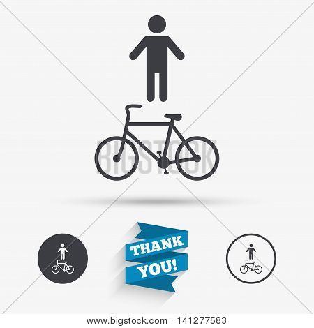 Bicycle and pedestrian trail sign icon. Cycle path symbol. Flat icons. Buttons with icons. Thank you ribbon. Vector