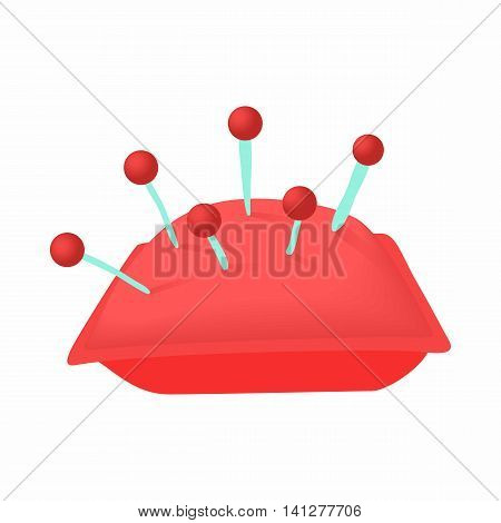 Cushion with pins icon in cartoon style isolated on white background. Sewing and accessories symbol