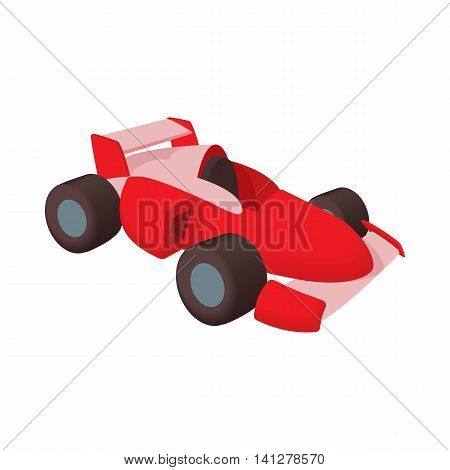Race car icon in cartoon style isolated on white background. Machine symbol
