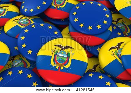 Ecuador And Europe Badges Background - Pile Of Ecuadorian And European Flag Buttons 3D Illustration