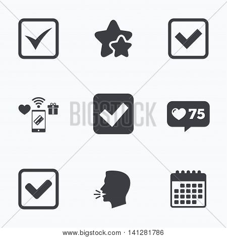 Check icons. Checkbox confirm squares sign symbols. Flat talking head, calendar icons. Stars, like counter icons. Vector
