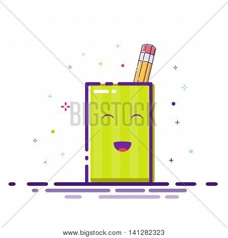 Pencil stand icon. Colourfull Flat vector design