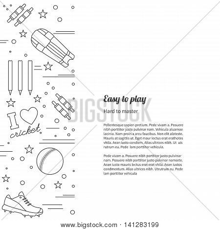 Flyer poster with cricket symbols and objects and with place for text. Vector sport template with professional cricket sport graphic design elements in thin line style isolated on white background.