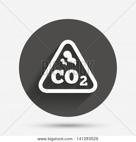 CO2 carbon dioxide formula sign icon. Chemistry symbol. Circle flat button with shadow. Vector