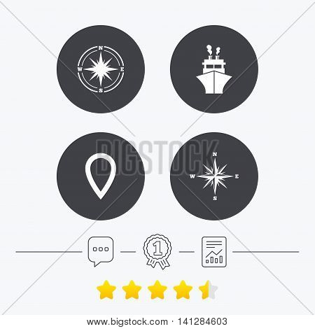 Windrose navigation compass icons. Shipping delivery sign. Location map pointer symbol. Chat, award medal and report linear icons. Star vote ranking. Vector
