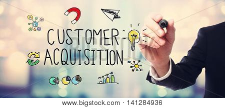 Businessman Drawing Customer Acquisition Concept