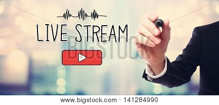 Businessman Drawing Live Stream Concept