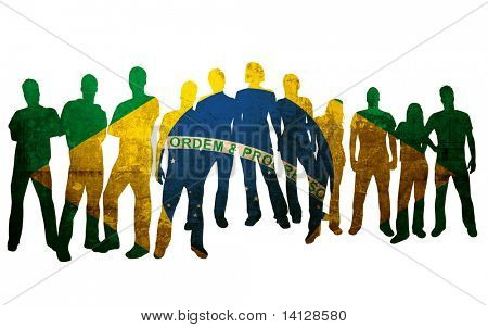 brazil flag style of people silhouettes