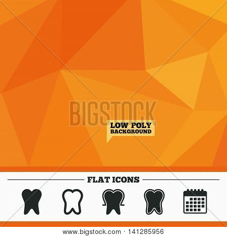 Triangular low poly orange background. Tooth enamel protection icons. Dental care signs. Healthy teeth symbols. Calendar flat icon. Vector