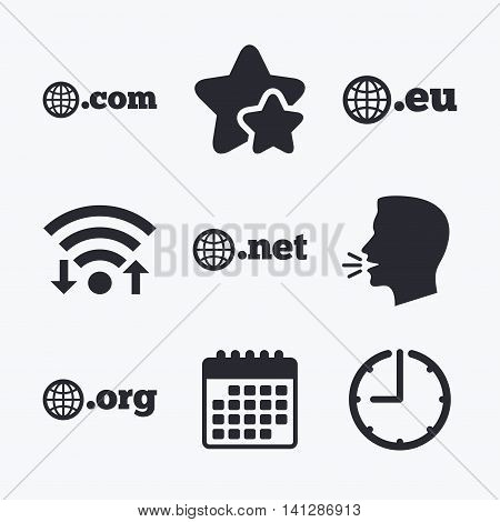 Top-level internet domain icons. Com, Eu, Net and Org symbols with globe. Unique DNS names. Wifi internet, favorite stars, calendar and clock. Talking head. Vector