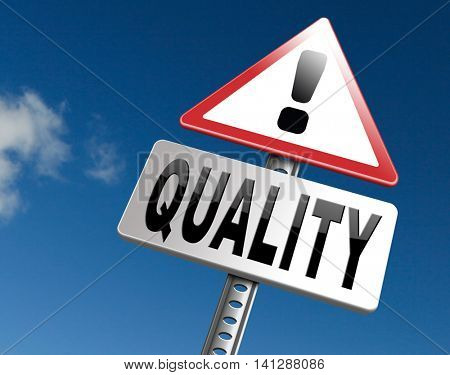 Quality control label 100% guaranteed warranty and top product survey icon 3D illustration