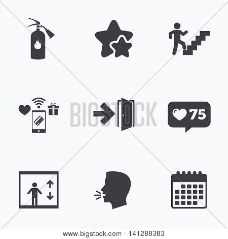 Emergency exit icons. Fire extinguisher sign. Elevator or lift symbol. Fire exit through the stairwell. Flat talking head, calendar icons. Stars, like counter icons. Vector