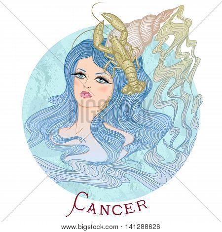 Zodiac. Vector illustration of the astrological sign of Cancer as a beautiful girl with long hair. Round shape