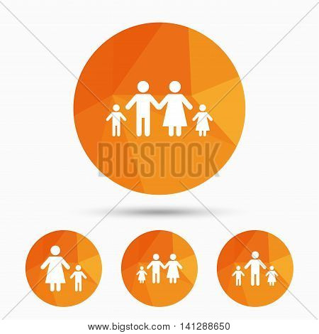 Family with two children icon. Parents and kids symbols. One-parent family signs. Mother and father divorce. Triangular low poly buttons with shadow. Vector