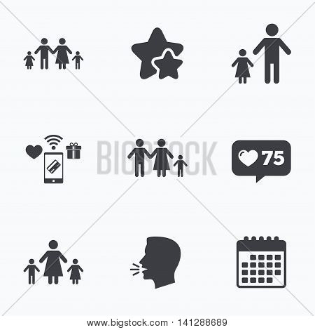 Family with two children icon. Parents and kids symbols. One-parent family signs. Mother and father divorce. Flat talking head, calendar icons. Stars, like counter icons. Vector