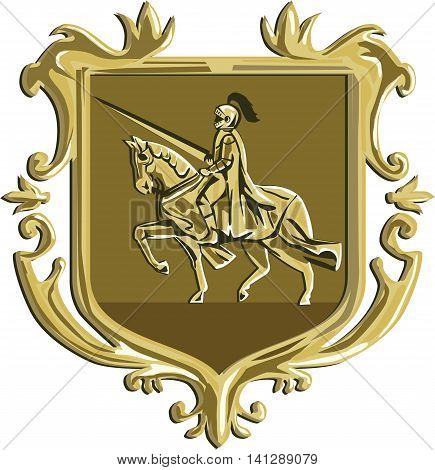 Illustration of knight in full armor with lance riding horse steed viewed from the side set inside coat of arms shield crest done in retro style.