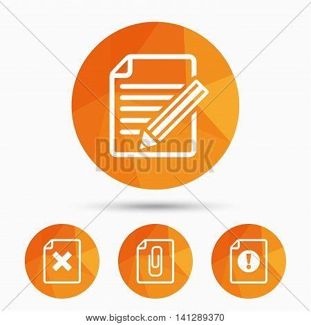 File attention icons. Document delete and pencil edit symbols. Paper clip attach sign. Triangular low poly buttons with shadow. Vector
