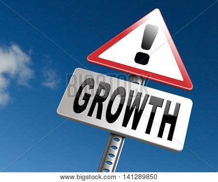 growth grow market stock or business development profit rise increase, road sign billboard.  3D illustration