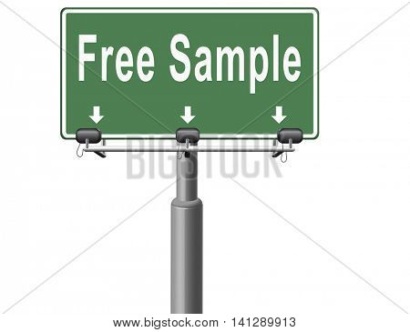 Free product sample offer or gratis download webshop button or web shop, road sign billboard.  3D illustration