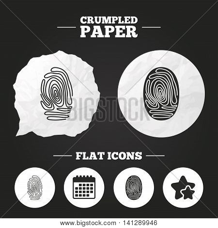 Crumpled paper speech bubble. Fingerprint icons. Identification or authentication symbols. Biometric human dabs signs. Paper button. Vector