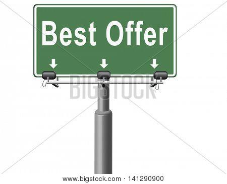 best offer, lowest price and best value for the money. Web shop or online promotion for internet webshop, road sign billboard. 3D illustration