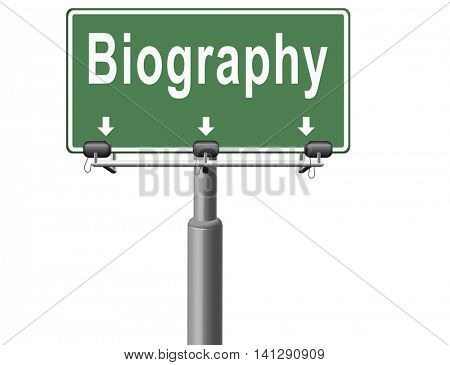 Bio button or biography leading to the story of your life about sign my life story 3D illustration